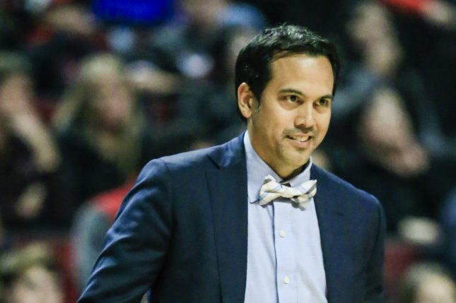 Miami Heat head coach Erik Spoelstra watches his team in action against the Chicago Bulls. Photo by Tannen Maury/EPA
