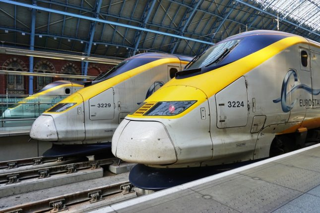 The Eurostar high-speed bullet train connects Paris Gare du Nord to London St. Pancras station. A migrant attempting to climb an Eurostar train in Paris was electrocuted early Tuesday. File photo by EQRoy/Shutterstock