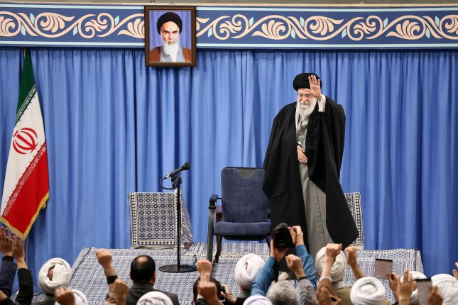 Iranian religious leader Ayatollah Ali Khamenei speaks in Tehran, Iran, on Wednesday to address missile attacks that targeted two U.S. military bases in Iraq. Photo by Office of Ayatollah Ali Khamenei/EPA-EFE