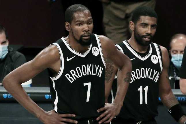 All-Star forward Kevin Durant (7) came off the bench in his first game since Feb. 13 and the Brooklyn Nets blew out the New Orleans Pelicans on Wednesday in Brooklyn. Photo by Peter Foley/EPA-EFE