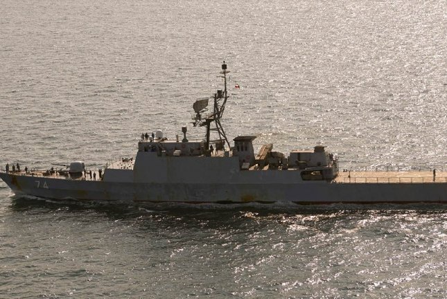 A pair of warships from Iran's Navy was spotted in the Baltic Sea Thursday on their way to St. Petersburg, Russia, for a naval parade taking place later this month. Photo courtesy Danish Ministry of Defense/Twitter