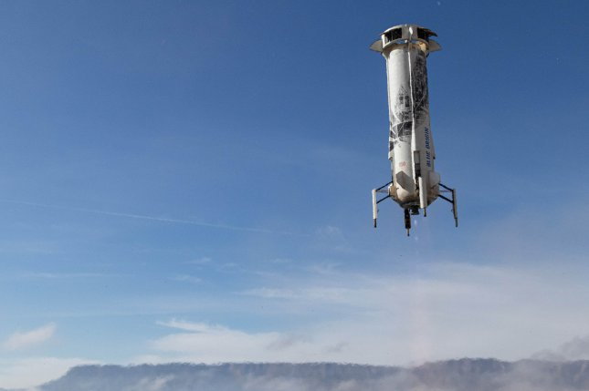 Blue Origin postponed the launch of the company's New Shepard rocket, shown landing after a flight in December, on Thursday in West Texas. Photo courtesy of Blue Origin