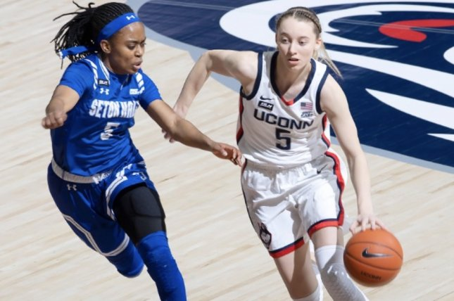 UConn guard Paige Bueckers (5) has been one of the best players at the 2021 NCAA Division I women's basketball tournament and has the Huskies in the Final Four. Photo by Stephen Slade/UConn Athletics