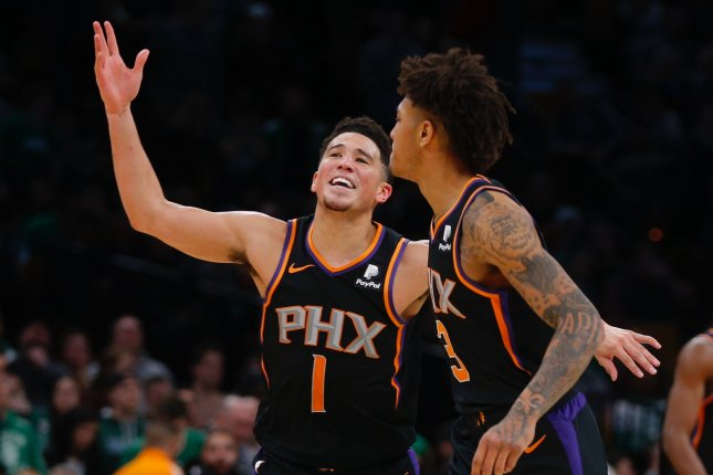 Phoenix Suns star guard Devin Booker (L) has averaged 26.4 points per game this season. File Photo by C.J. Gunther/EPA-EFE