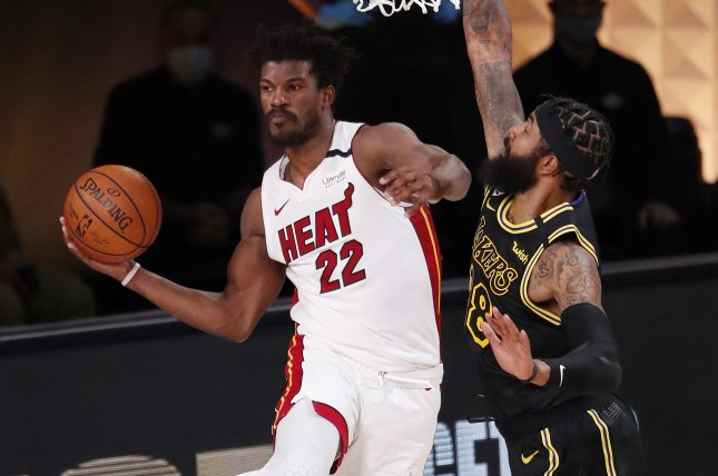 The Miami Heat are one win away from tying the NBA Finals after Jimmy Butler (L) posted a 40-point triple-double in the Heat's Game 3 win over the Los Angeles Lakers on Sunday in Orlando, Fla. Photo by Erik S. Lesser/EPA-EFE