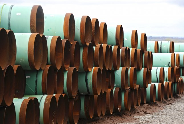 A file picture dated 21 March 2012 shows piping to be used for the Keystone XL pipeline. This week, several North American tribes sued the Trump Administration to reverse a permit granted to TransCanada to build the pipeline on grounds it violates federal law. File Photo by Larry W. Smith/EPA
