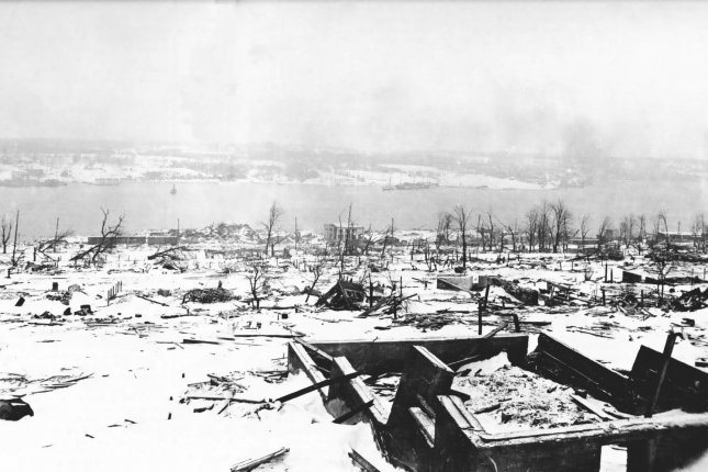 On December 6, 1917, more than 1,900 people died in an explosion when a Belgian relief ship and a French munitions vessel collided in the harbor at Halifax, Nova Scotia. Photo courtesy the government of Canada