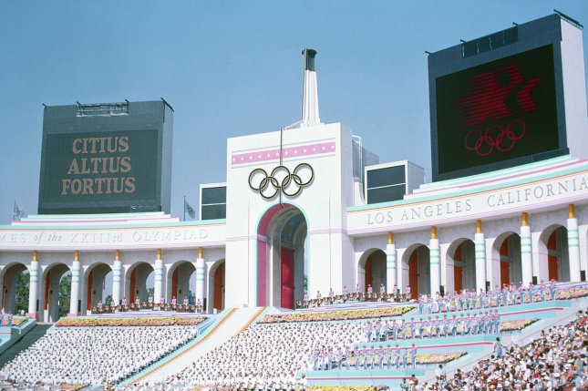 Olympic Torch Tower of the Los Angeles Coliseum on the day of the opening ceremonies of the XXIII Summer Olympics on July 28, 1984. File photo by U.S. Air Force/UPI