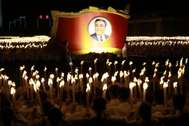 The memoir of North Korea's first leader Kim Il Sung is on sale in South Korea, but South Korean activists said the publication runs afoul of the law. File Photo by How Hwee Young/EPA-EFE