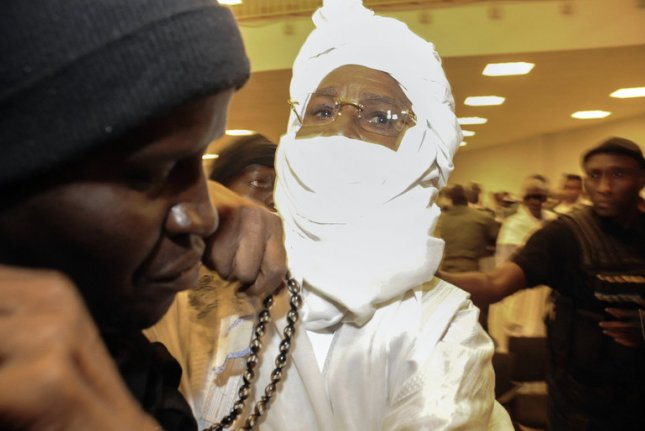 Former Chadian leader Hissene Habre, pictured in 2015 while standing trial for war crimes in Dakar, Senegal, was released from jail for 60 days. File photo by EPA