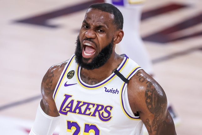 LeBron James and the Los Angeles Lakers battle the Denver Nuggets in Game 1 of the Western Conference finals at 9 p.m. EDT Friday in Orlando, Fla. Photo by Erik S. Lesser/EPA-EFE