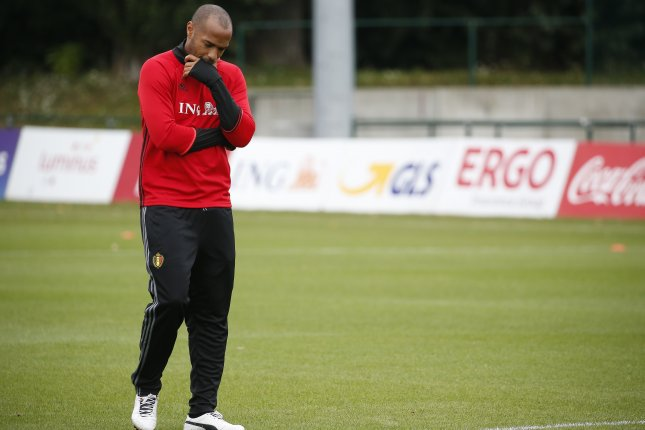 Assistant coach for the Belgian national soccer team and former French soccer player Thierry Henry during a Belgium national soccer team training session in Neerpede near Brussels, Belgium. Photo by Julien Warnand/EPA