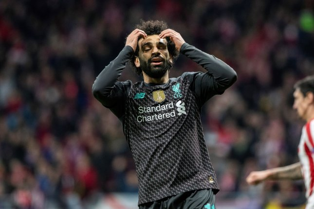 Liverpool striker Mohamed Salah had the closest shot for the Reds during their 1-0 loss to Atletico Madrid Tuesday in Madrid. Photo by Rodrigo Jimenez/EPA-EFE