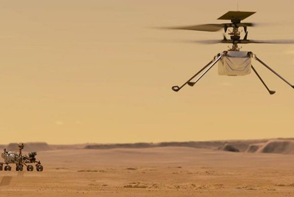 An illustration depicts NASA's Mars helicopter Ingenuity flying on the Red Planet. Image courtesy of NASA