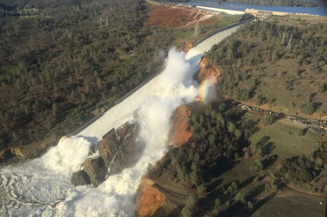 Heavy rain coupled with severe erosion caused the winter 2017 damaging of the Oroville Dam in northern California. New climate models run by scientists at the University of California, Riverside project that the northern part of California could experience increased rainfall through 2100. File Photo by EPA/California Department of Water Resources