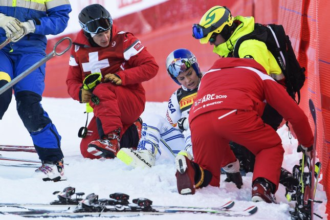 Lindsey Vonn (C) crashed in one of her final races during the World Championships in February in Sweden. Photo by Pontus Lundahl/EPA-EFE
