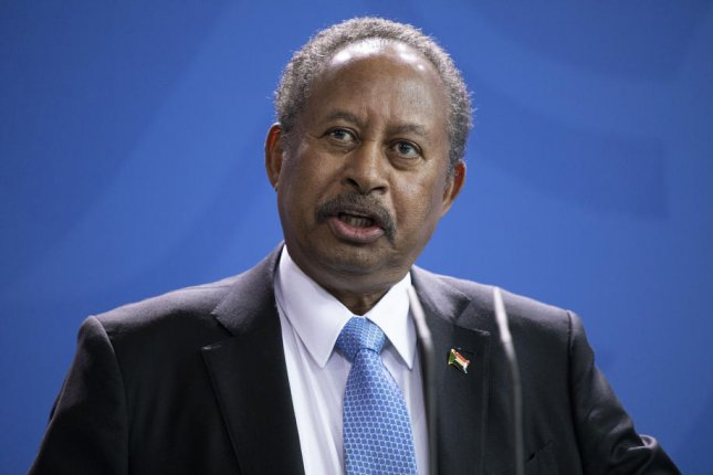 Sudanese Prime Minister Abdalla Hamdok, seen here last month in Germany, survived unharmed after a bomb targeted his motorcade Monday in Khartoum. File photo by Omer Messinger/EPA-EFE