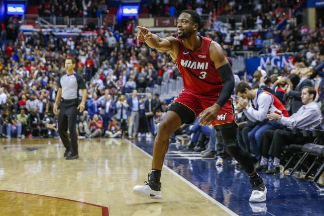 Miami Heat guard Dwyane Wade had 11 points, three assists and four rebounds in a loss to the Atlanta Hawks on Sunday at State Farm Arena in Atlanta. Photo by Erik S. Lesser/EPA-EFE