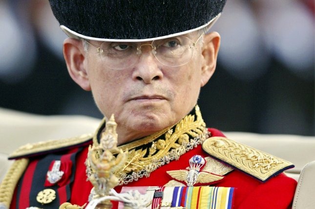 A file picture dated December 2, 2004, shows Thai King Bhumibol Adulyadej, who died Oct. 13 at age 88. The Thai government has petitioned Google to remove more than 100 items it deems insulting to the late king. File Photo by Vinai Dithajohn/EPA