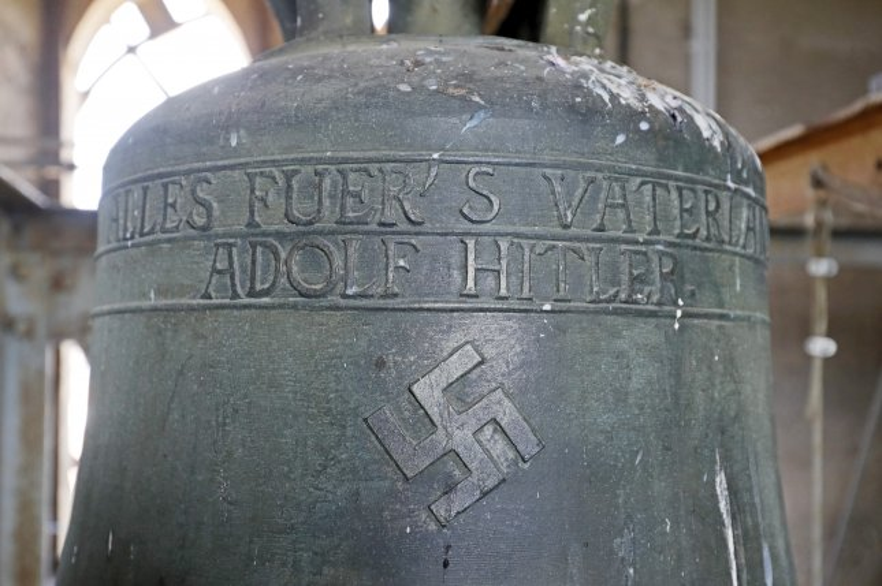 A view of a bell inside the church Jakobskirche in Herxheim, Germany. File photo by Ronald Wittek/EPA