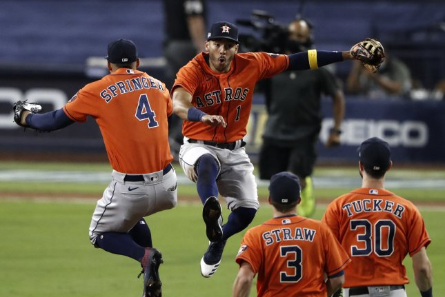 Houston Astros center fielder George Springer (4) and shortstop Carlos Correa (1) celebrate their win over the Tampa Bay Rays in Game 6 of the American League Championship Series on Friday night at Petco Park in San Diego, Calif. Photo by Adam Davis/EPA-EFE