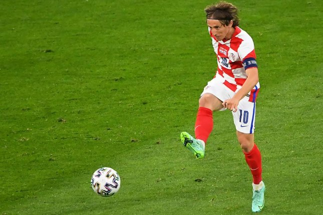 Luka Modric of Croatia registered a goal and an assist in a win over Scotland in the group stage of the UEFA Euro 2020 tournament Tuesday in Glasgow, Scotland. Photo by Andy Buchanan/EPA-EFE