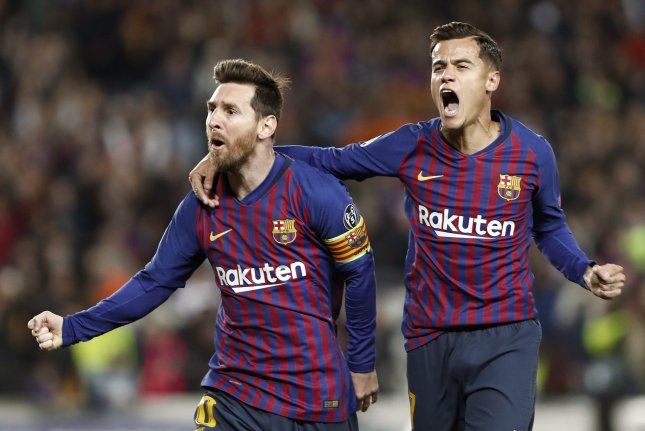 FC Barcelona forward Lionel Messi (L) celebrates with midfielder Philippe Coutinho after scoring a goal during the UEFA Champions League quarter-final second leg match between FC Barcelona and Manchester United on Tuesday at Camp Nou Stadium in Barcelona, Catalonia, Spain. Photo by Andreu Dalmau/EPA-EFE