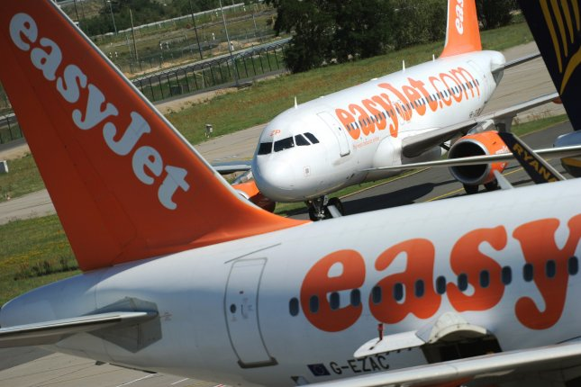 EasyJet said it would implement carbon offsetting efforts immediately to help mitigate the effects of climate change. File Photo by Hannibal Hanschke/EPA-EFE