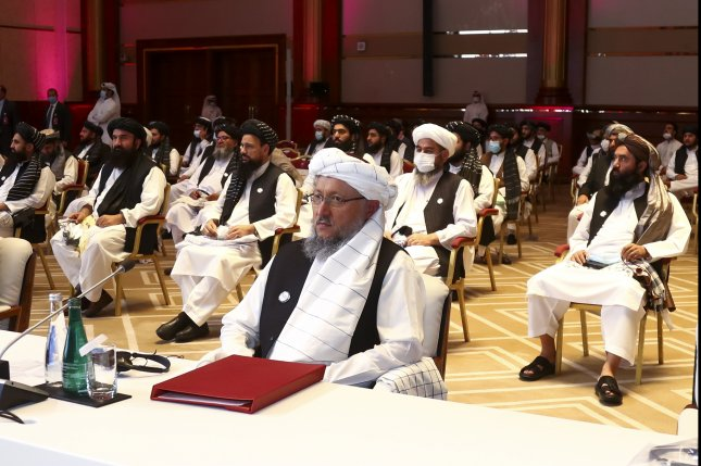 Mullah Abdul Salam Hanafi, a representative of the Afghan Taliban movement, attends the the opening session of the peace talks between the Afghan government and the Taliban in Doha, Qatar, on September 12. File Photo by EPA-EFE