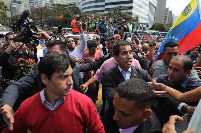The Head Of Venezuelan Parliament Juan Guaido Recognized As Interim President Venezuela By 50 Countries Greets His Supporters During A Meeting With
