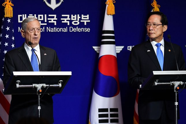 U.S. Secretary of Defense James Mattis (L) and South Korean Defense Minister Song Young-moo (R) attend a joint news conference Saturday after the 49th Security Consultative Meeting at the Defense Ministry in Seoul, South Korea. Photo by Song Kyung-Seok/pool/EPA