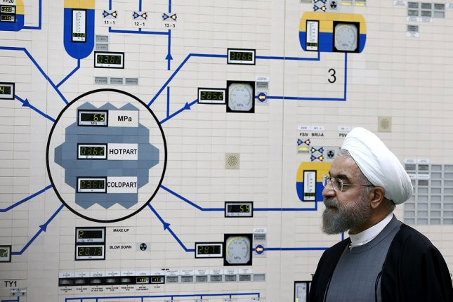 Iranian President Hassan Rouhani is pictured during a visit to the Bushehr nuclear power plant in Bushehr in southern Iran on January 13, 2015. File Photo by Iranian Presidency Office/EPA-EFE