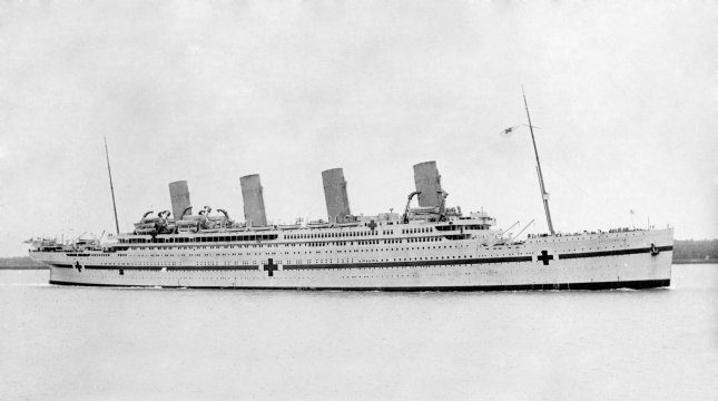 The HMHS Britannic, a White Star line passenger ship pressed into service as a hospital ship during World War I, pictured before it was sunk November 21, 1916. File Photo by Allan Green/Wikimedia