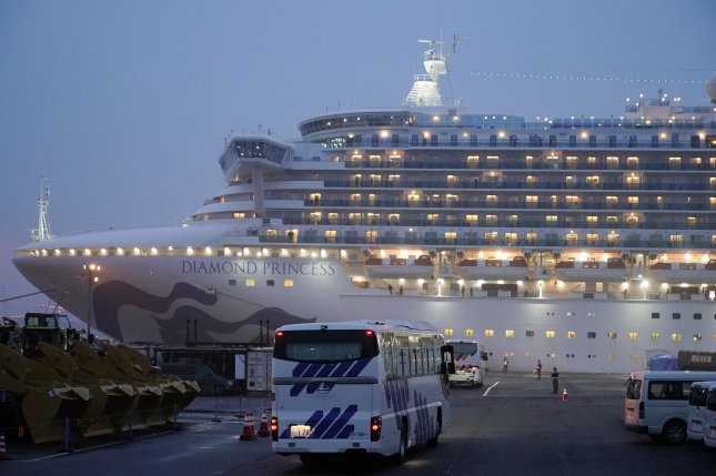 Buses with closed curtains arrive Sunday at the Daikoku Pier Cruise Terminal where the Diamond Princess cruise ship is docked in Yokohama, south of Tokyo, Japan. Photo by Franck Robichon/EPA-EFE