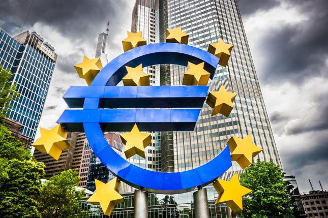 Euro sign at European Central Bank headquarters in Frankfurt, Germany. The central banks announced new measures Thursday to boost the Eurozone. Photo by Canadastock/UPI-Shutterstock