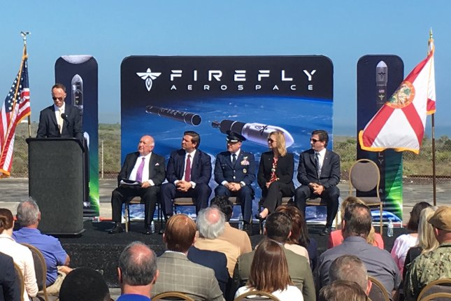 Firefly Aerospace acting CFO Mark Watt addresses the crowd on Feb. 22, 2019, at Cape Canaveral, Fla., atop Space Launch Complex 20. File photo by Paul Brinkmann/UPI