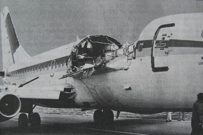 On April 28, 1988, an Aloha Airlines Boeing 737 lost a section of its roof at 24,000 feet between Hilo, Hawaii, and Honolulu, killing a flight attendant. File Photo courtesy of the National Transportation Safety Board