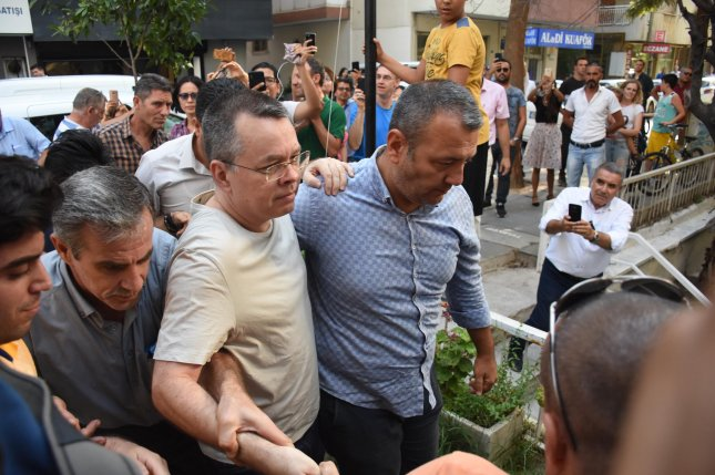 U.S. pastor Andrew Brunson (C) is released to house arrest on July 25 at Aliaga Prison in Izmir, Turkey. Thursday, the Turkish government slammed new U.S. sanctions connected to Brunson's detention. Photo by Mustafa Koprulu/EPA-EFE