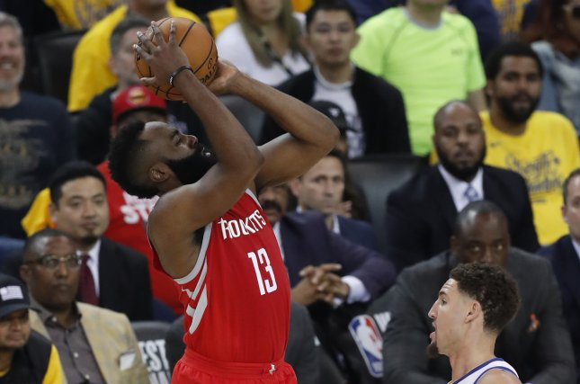 Houston Rockets guard James Harden had a game-high 26 points with six rebounds and six assists in the Rockets' Game 5 win over the Utah Jazz on Wednesday night. File Photo by John G. Mabanglo/EPA-EFE