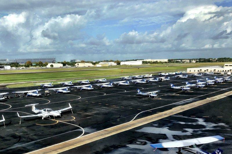Airplanes are lined up at Embry-Riddle Aeronautical University flight school in Daytona Beach, Fla. Photo by Paul Brinkmann/UPI