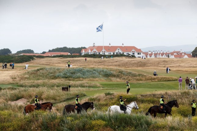 The Pentagon said it spent $184,000 at President Donald Trump's Scotland resort, Trump Turnberry, in the past two years, double the $64,380 it spent at the hotel in the two years before he became president. Photo by Robert Perry/EPA-EFE