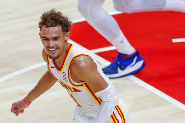 Atlanta Hawks guard Trae Young, shown during a game against the Washington Wizards on May 10, declined to press charges against the New York Knicks fan who spit on him. Photo by Erik S. Lesser/EPA-EFE