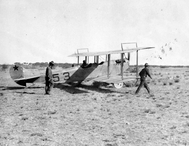 Lieutenant Carleton G. Chapman of the 1st Aero Squadron, U.S.A. Aviation Corps, leaving Casas Grandes, Mexico on a scouting mission during the 1916-1917 Pancho Villa Expedition in Mexico. File Photo by Library of Congress/UPI