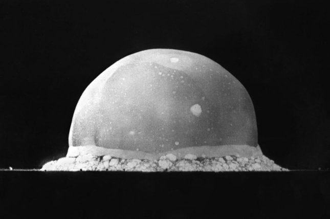 Scene from the first atomic bomb test 0.016 second after explosion at the Trinity site on a secret base on July 16, 1945, in Alamogordo, New Mexico. The viewed hemisphere's highest point in this image is about 200 meters high. File photo by File Photo courtesy of the Los Alamos National Laboratory