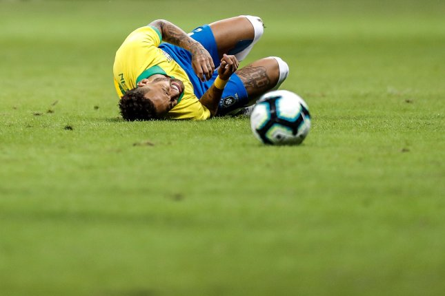 Brazil's Neymar lasted just 22 minutes before being injured during a 2-0 friendly win against Qatar on Wednesday in Brazil. Photo by Antonio Lacerda/EPA-EFE