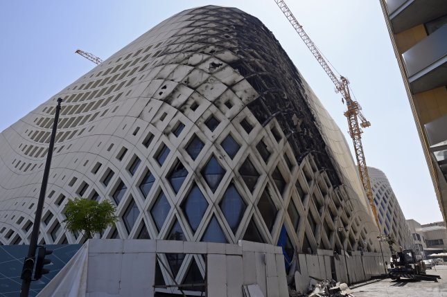 The aftermath of the fire that erupted Tuesday in a landmark modern building, designed by the late world-renowned British-Iraqi architect Zaha Hadid, at Beirut Souks in Beirut, Lebanon. Photo by Wael Hamzeh/EPA-EFE