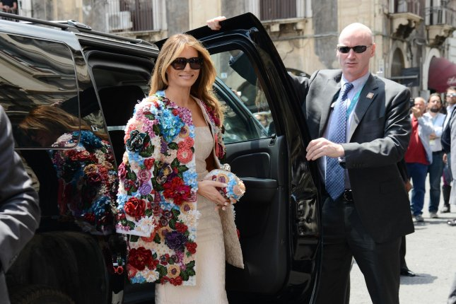 First Lady Melania Trump arrives at Chierici Palace during a visit to Sicily, Italy, for the G7 Summit on Friday. File Photo by Orietta Scardino/EPA