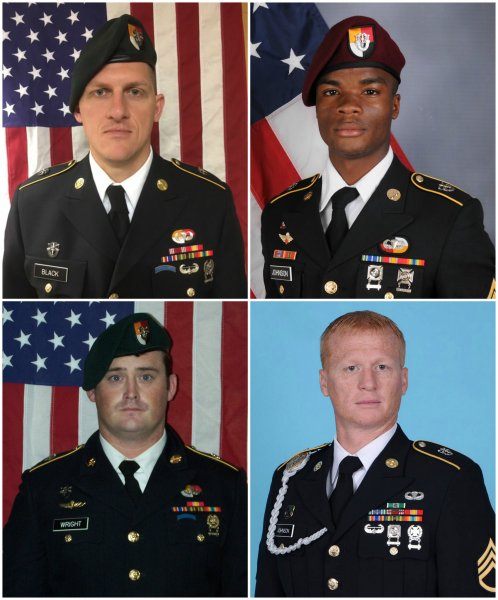 The Pentagon released new video of the assault that left Staff Sgt. Bryan C. Black (top-L), Sgt. La David Johnson (top-R), Staff Sgt. Dustin M. Wright (bottom-L) and Staff Sgt. Jeremiah W. Johnson (bottom-R) dead in Niger in October 2017. File Photo courtesy of the Department of Defense