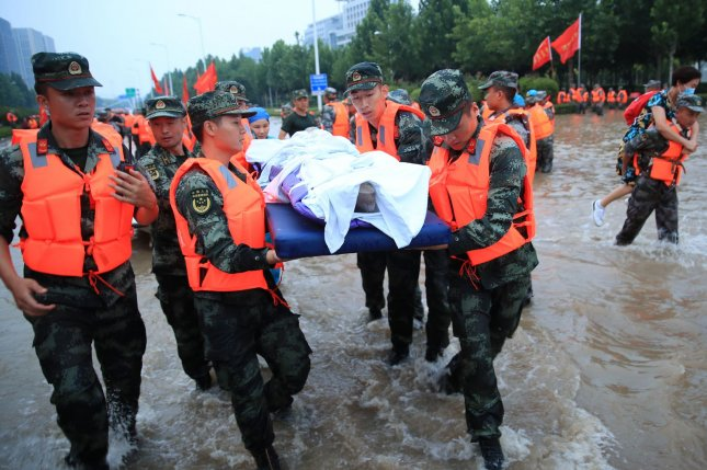 China's Henan Province has reported 51 deaths amid the evacuation of 400,000 people from their homes. File Photo by EPA-EFE