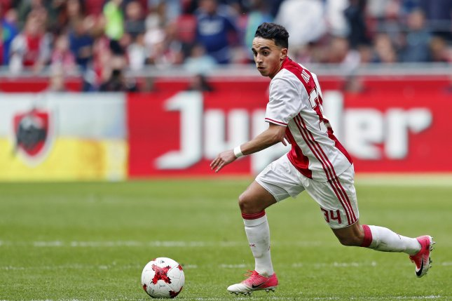 Abdelhak Nouri of Ajax faced Go Ahead Eagles May 7, 2017, in Amsterdam, Netherlands. Photo by Stanley Gontha/EPA